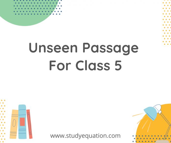 Unseen passage for class 5